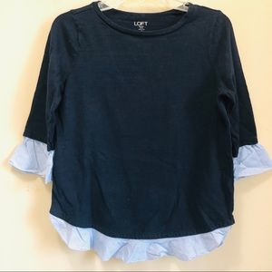 Ann Taylor LOFT Navy Faux Layered Top in Sz. SP